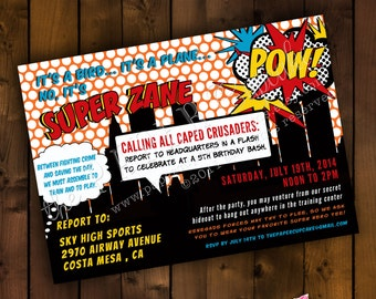 Printable Invitation Design - Pow-Bam-Zap! SuperheroTheme
