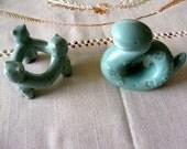 Two Vintage  Asian Ceramic Pieces Tea Ceremony Futaoki Jade Color Porcelain Original Stamp Lida's Japan
