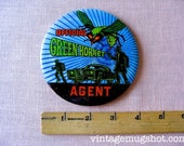 "1966 Green Hornet Agent Button Large  4""  Original Bruce Lee Sixties Television ABC"
