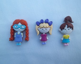 Gal Pals Magnets / Set of Three Girl Magnets / Friend Magnets