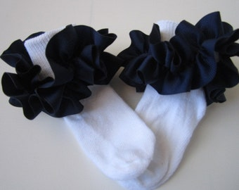 Navy Blue Ruffled Ribbon Socks