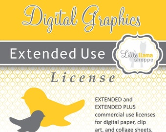 Extended Commercial Use License for Digital Paper Packs, Clipart Art Sets, & Collage Sheets