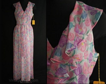 Size 0 Garden Party Dress - 30s Look XS Summer Frock - Pink & Lilac Pastel Floral Evening Gown - Bust 32.5 - 165 Dollar Original Tag - 34830