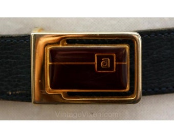 Pierre Cardin Navy Leather Belt with Logo Buckle - Size 10 to 14 - Medium Large Dark Blue Belt - Men's or Ladies' Designer Belt - 35385-1