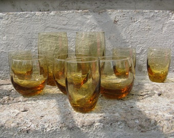 libbeys glassware amber set of 9 assorted sizes roly polys  barware fall decor vintage glassware