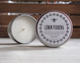 Soy Candle, Lemon Verbana Soy Candle Tin, 6 oz. hand poured soy candle with a fresh & citrusy scent