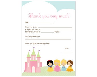 PRINTABLE Princess Party Fill-In Thank You Card - INSTANT DOWNLOAD