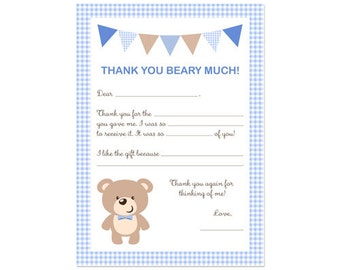 PRINTABLE Boy or Girl Teddy Bear Party Fill-In Thank You Card