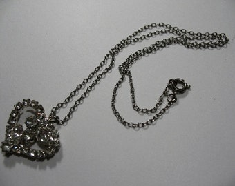 Vintage Silver Tone Necklace with Rhinestone Heart Pendant