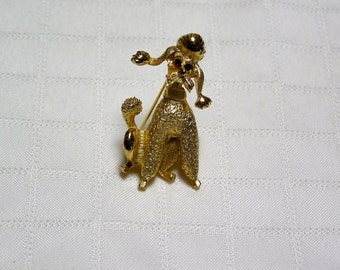 vintage Pell gold tone red rhinestone eyes Poodle pin