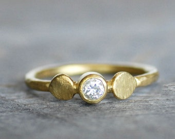 Diamond and Gold Wedding Ring - Lotus Engagement Band 18k Gold- Eco-Friendly Recycled Gold