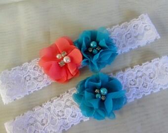 Coral and turquoise wedding garter set / bridal garter/ lace garter  / rustic style garter / vintage inspired lace garter