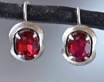 Vintage Earrings Red, Sterling Silver and Faux Rubies Small Art Deco Marked 1930's