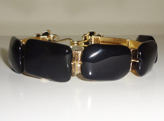 "HUGE 150 cts Natural Fancy Octagon cut Black onyx, 14kt yellow gold 8"" Bangle Bracelet"