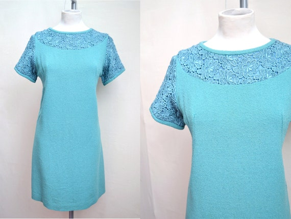 1960s Evening shift mini dress in teal blue green - S