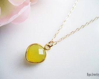 Yellow Heart Chalcedony Necklace, Gemstone Bezel Gold Necklace, Faceted Yellow Stone Necklace, Delicate, Minimal, Elegant, Wedding Gift