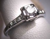Antique Diamond Wedding Ring Vintage Art Deco 18K WGold