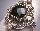 Antique Tourmaline Diamond Ring Vintage Victorian 18K Gold Wedding