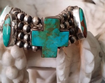 Cross Turquoise and Sterling Navajo Beaded Bracelet