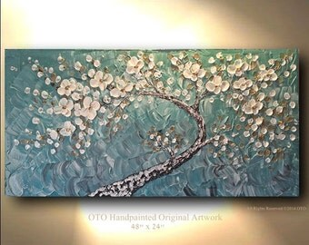 Cherry blossom White Flowers Large Teal Landscape Abstract Cherry Blossoms Oil Painting Thick Texture Gallery Fine Art by OTO