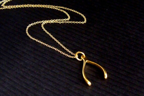 24k Gold Wishbone Necklace - Gift for her, BFF, Friend, Sister, Mom, Girlfriend, Teacher Gift, Graduation Gift, Trending Fashion, Good Luck