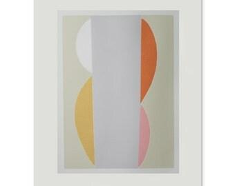 Emma Lawrenson, Large silkscreen, abstract original print, pink, yellow, grey,orange. Large wall decor by Emma Lawrenson