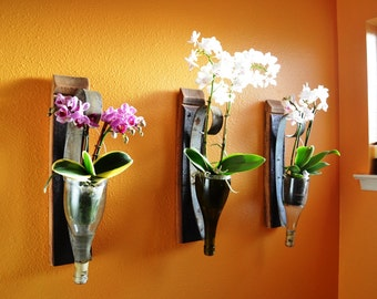 "VESSEL - ""Luisia"" - Set of 3 Wall Hanging Wine Bottle Flower Holder - 100% Recycled"