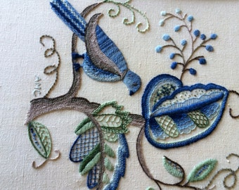 Vintage Crewel Embroidered Art Picture Framed Blue and Green Flowers