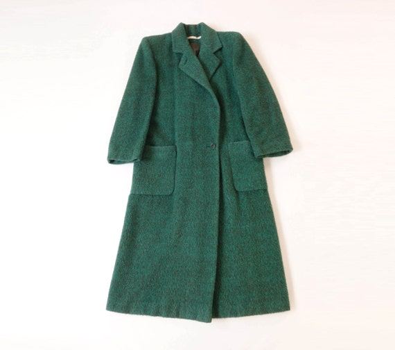 SALE Vintage Coat PERRY ELLIS Mohair Fuzzy Green Medium