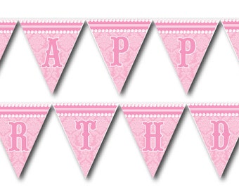 DIY Printable Pretty in Pink Birthday Banner