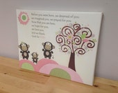 Baby Girl room decor Nursery Children Artwork..before you were..on canvas gallery wrap, 11x14 pink monkey