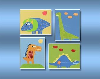 Baby art, Nursery wall art print, Baby boy room, Dino set 4 prints, carter dinosaur, Dino attack, children decor, blue, yellow, red, green