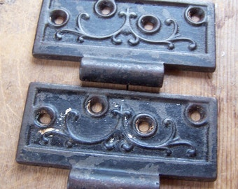 "SIZE 4-1/2"" Cast Iron Victorian HALF Hinge for Doors, Ornate 1800's Authentic Antique Hinge Leaf Repair Parts & Restoration Hardware"