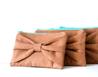 set of 4 bridesmaid clutches, bow pouch in brown linen, wedding, custom bags, bridesmaids, spring summer fall fashion, turquoise