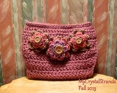 Bugg Mauve Glow Crochet Diaper Cover w/ Tiered Flower Accents in Pink and Lilac