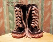 Buggs - Crochet Lace Up Baby Booties  in Chocolate Brown, Soft Pink, and Rasberry Pink