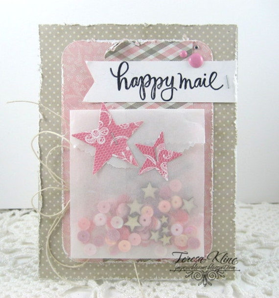Happy Mail Shaker Thinking of You Blank Greeting Card