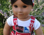 Chicago Bulls sports sundress, T shirt and headband  for american girl or any 18 inch doll