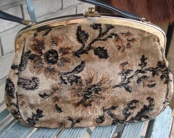 Vintage Velvet Carpet Bag taupe and black Purse with brass snap