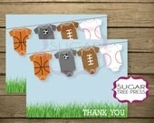 Sports Baby Shower Thank You Card - PRINTABLE INSTANT DOWNLOAD