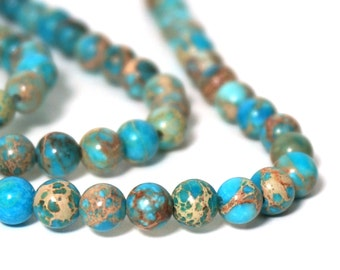 6mm Aqua Terra Jasper, round turquoise gemstone beads, full & half strands available (920S)