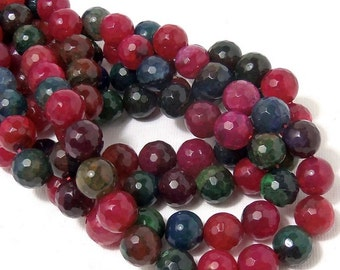 "Fired Crackle Agate, 10mm, Red/Pink/Green/Blue, Round, Faceted, Multi Colored, Gemstone Beads, Large, 14.5"" Full Strand, 37pcs - ID 1908"