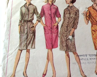 60s Simplicity 6439 Dress or Coat Dress with Set in Sleeves Size 12 Bust 34