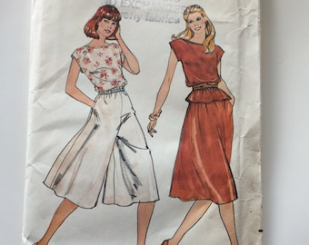 80s Butterick 3909 Gaucho Culottes and Simple Bateau Neckline Top Size 16 Bust 38