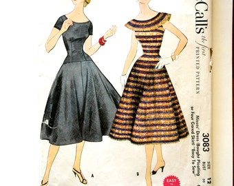 50s McCalls 3083 Dress Pleated Full Flared Skirt, Drop Waist, Collar Scoop Neck Size 12 Bust 30