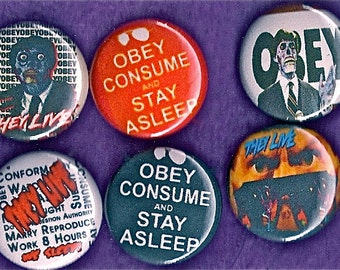 """THEY LIVE 1"""" Pins Buttons Badges  Set of 6 obey Sci-Fi movie 1980s Cult Film john carpenter 1 inch Pinbacks"""