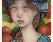 Medieval Maiden in the Apple Orchard....Original 5x7 Mixed Media Illustration