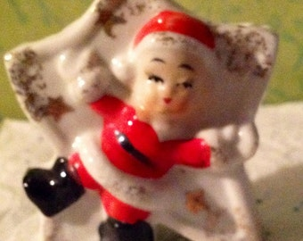 Vintage Mini Santa Claus Star Shaped Planter