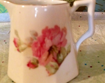 Vintage Mini Floral Vase/ Pitcher With Gold Trim And Handle