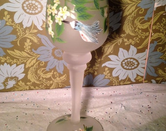 Vintage Hand Painted Blue Humming Birds Amongst Flowers Frosted Wine Glass